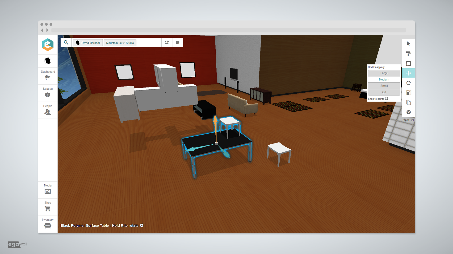 Screenshot of 3d object manipulation in Egowall