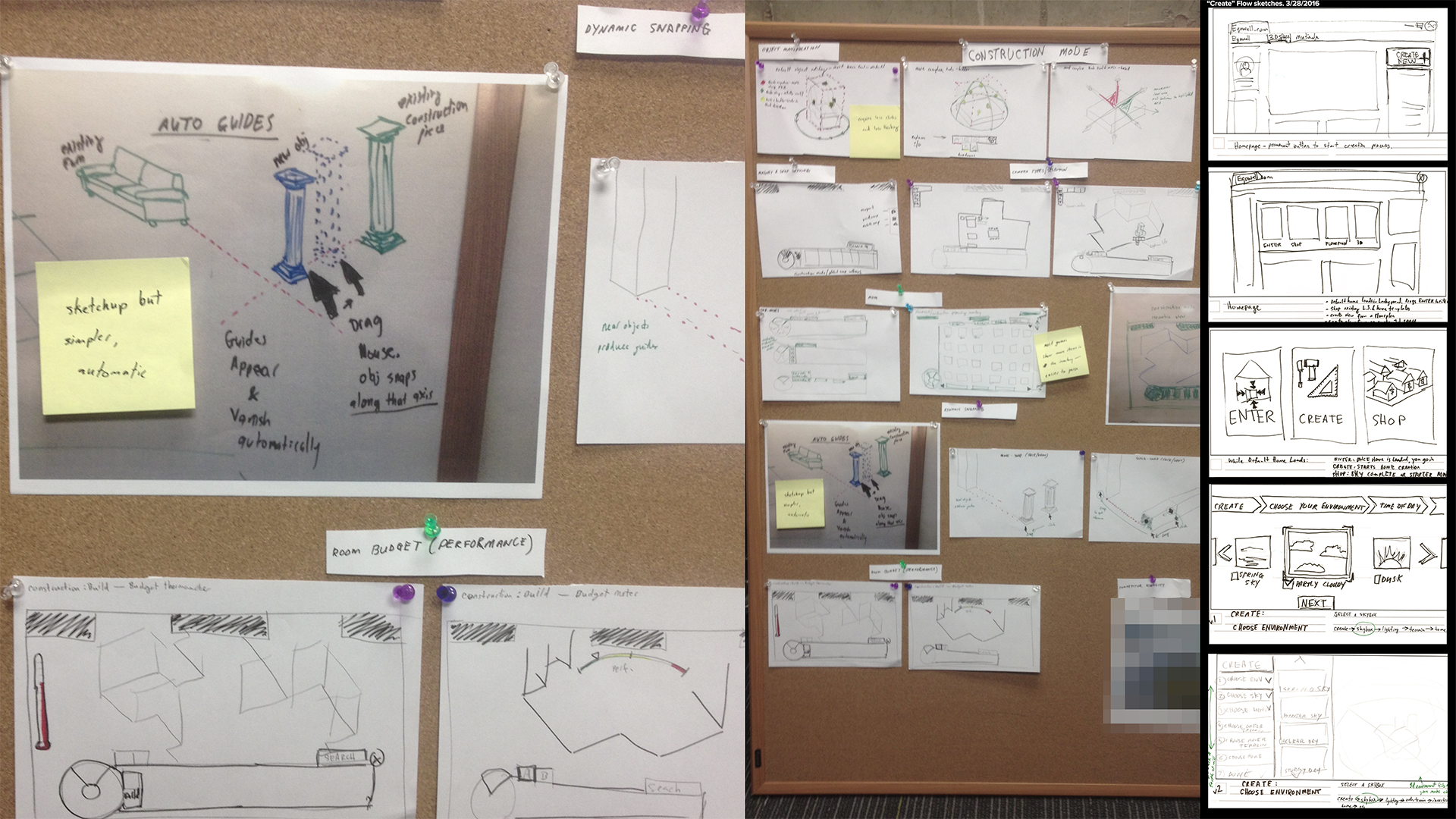 Image of potential user interactions and wireframe sketches.