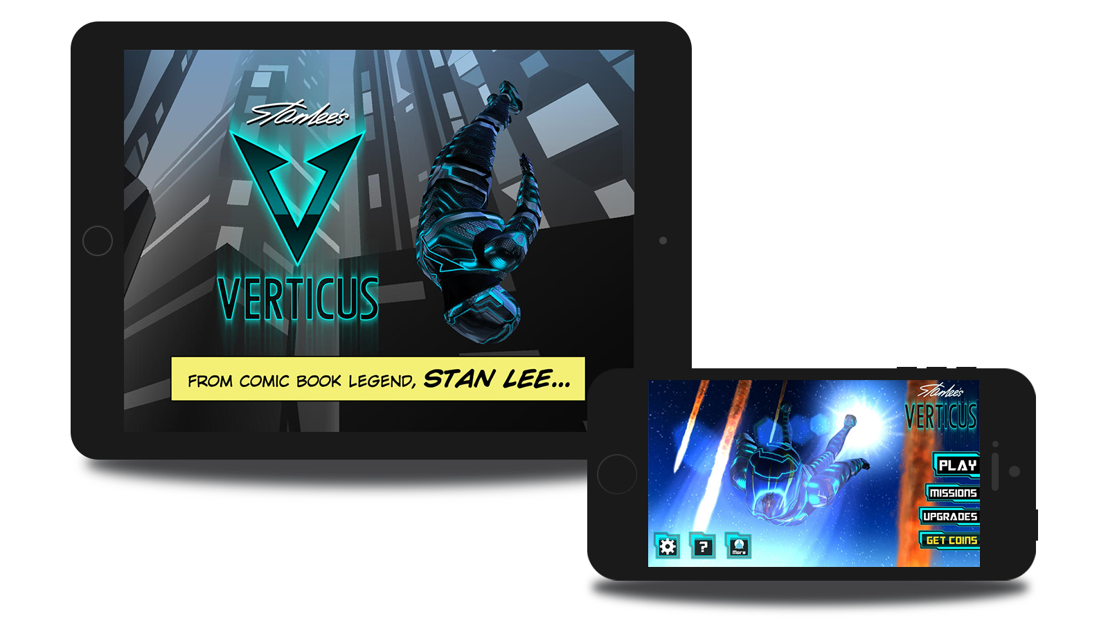 iPad and iPhone screen mockups of Verticus, a mobile game for iOS.